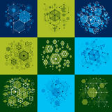 Set of vector Bauhaus abstract backgrounds made with grid and ov. Erlapping simple geometric elements, circles and honeycombs. Retro style artworks, graphic Stock Image