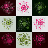 Set of vector Bauhaus abstract backgrounds made with grid and ov. Erlapping simple geometric elements, circles and honeycombs. Retro style artworks, graphic Stock Images