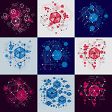 Set of vector Bauhaus abstract backgrounds made with grid and ov Royalty Free Stock Image