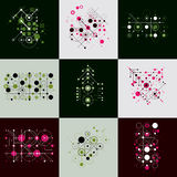 Set of vector Bauhaus abstract backgrounds made with grid and ov. Erlapping simple geometric elements, circles and lines. Retro style artworks, graphic templates Royalty Free Stock Images