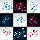 Set of vector Bauhaus abstract backgrounds made with grid and ov Stock Image