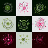 Set vector Bauhaus abstract backgrounds made with grid and overl Royalty Free Stock Photos
