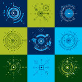 Set vector Bauhaus abstract backgrounds made with grid and overl Stock Photo