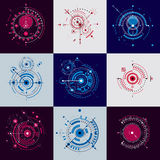 Set vector Bauhaus abstract backgrounds made with grid and overlapping simple geometric elements, circles. Retro artworks, techno. Logy style graphic templates stock illustration