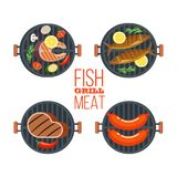 Set of four barbecue grills. Fish, steak, sausages, vegetables. Vector illustration isolated on white background. Set of vector BBQ emblems. Grilled delicious Royalty Free Stock Photo
