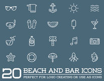 Set of Vector Beach Sea Bar Elements. And Summer can be used as Logo or Icon in premium quality Stock Photos