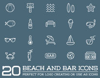Set of Vector Beach Sea Bar Elements. And Summer can be used as Logo or Icon in premium quality Royalty Free Stock Photography