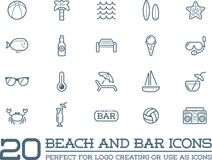 Set of Vector Beach Sea Bar Elements. And Summer can be used as Logo or Icon in premium quality Stock Images