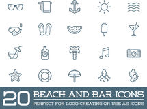 Set of Vector Beach Sea Bar Elements. And Summer can be used as Logo or Icon in premium quality Royalty Free Stock Photo