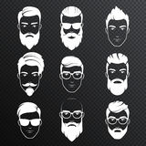 Set of vector bearded hipster men faces on the transperant alpha background. White color haircuts, beards, mustaches set stock illustration