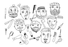 Set of vector bearded men with different haircuts, mustaches, beards. vatars, heads, emblems, icons, labels. royalty free illustration