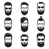 Set of vector bearded men faces hipsters vector illustration