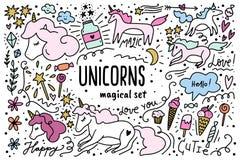 Set of vector beautiful cute unicorns with decor elements vector illustration