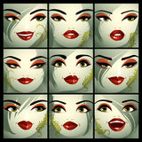 Set of vector beautiful female portraits with stylish makeup and Royalty Free Stock Images