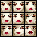 Set of vector beautiful female portraits with stylish makeup and Royalty Free Stock Image