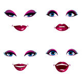 Set of vector beautiful female visage with stylish makeup, eyes Stock Photography