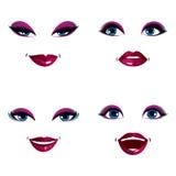 Set of vector beautiful female visage with stylish makeup, eyes Stock Photography