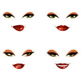 Set of vector beautiful female visage with stylish makeup, eyes Royalty Free Stock Photos
