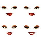 Set of vector beautiful female visage with stylish makeup, eyes Royalty Free Stock Photos