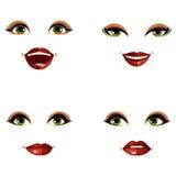 Set of vector beautiful female visage with stylish makeup, eyes Stock Photo