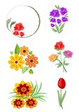Set of vector beautiful small floral ornaments nad motifs in cheerful colors. Suitable for leaflet, invitation and flyer design. Stock Photography