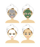 Set vector of a beautiful woman with a facial care mask. concept spa Stock Images