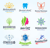 Set of vector beauty and health logo, icons and design elements Royalty Free Stock Image