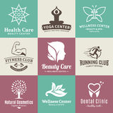 Set of vector beauty and health logo, icons and design elements Royalty Free Stock Photos