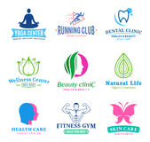 Set of vector beauty and health logo, icons and design elements Stock Image