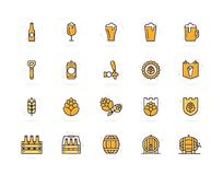Set of vector beer and bar, pub colored line icons. Alcohol, bottle, mug, barley, hop, barrel, ale, froth, keg, beaker. Vector symbol or icon design element for Stock Photo