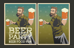 Set of vector Beer party posters. Set of Beer party posters. Vector illustration and invitation template Stock Photography