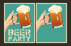 Set of vector Beer party posters. Set of Beer party posters. Vector illustration and invitation template Royalty Free Stock Photos