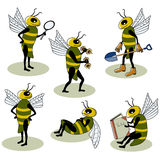 Set of vector bees. Busy doing different things Royalty Free Stock Photos