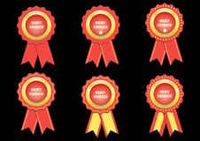 Set Vector best choice red label with ribbons Stock Image