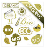 Set of vector bio, eco, organic elements. Labels, stickers, stamps, ribbons Stock Photos