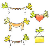 Set of vector birds carrying garlands, ribbon, heart and placard Royalty Free Stock Photos