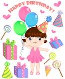 Set of vector birthday cartoon party elements and a cute girl. Set of vector birthday cartoon party elements, and a cute girl Stock Images