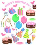 Set of vector birthday cartoon party elements.  Royalty Free Stock Images