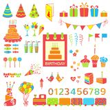 Set of vector birthday elements Stock Photos