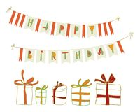 Set of vector birthday party elements. Eps 10 Royalty Free Stock Photos