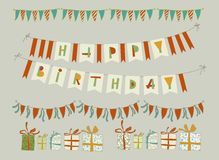 Set of vector birthday party elements. Eps 10 Royalty Free Stock Images