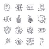 Set of vector bitcoin line icons. Investments, payments and exchange, internet banking, wallet, bundle of money, hand stock illustration