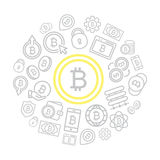 Set of vector bitcoin line icons set in shape of circle with bitcoin, money, cash, wallet, hand with coin, lock, phone. Vector symbol or icon design element for Royalty Free Stock Photography