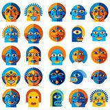 Set of vector bizarre creatures, modern art colorful drawings of Royalty Free Stock Photos