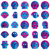 Set of vector bizarre creatures, modern art colorful drawings of Royalty Free Stock Image