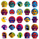 Set of vector bizarre creatures, modern art colorful drawings of Royalty Free Stock Photography