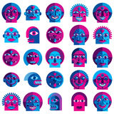 Set of vector bizarre creatures, modern art colorful drawings of Royalty Free Stock Photo