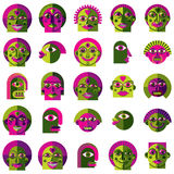 Set of vector bizarre creatures, modern art colorful drawings of Stock Image