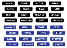 Set of vector black and blue rectangular buttons Royalty Free Stock Photography