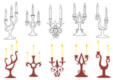 Set of  vector black and brown candelabras Royalty Free Stock Photos
